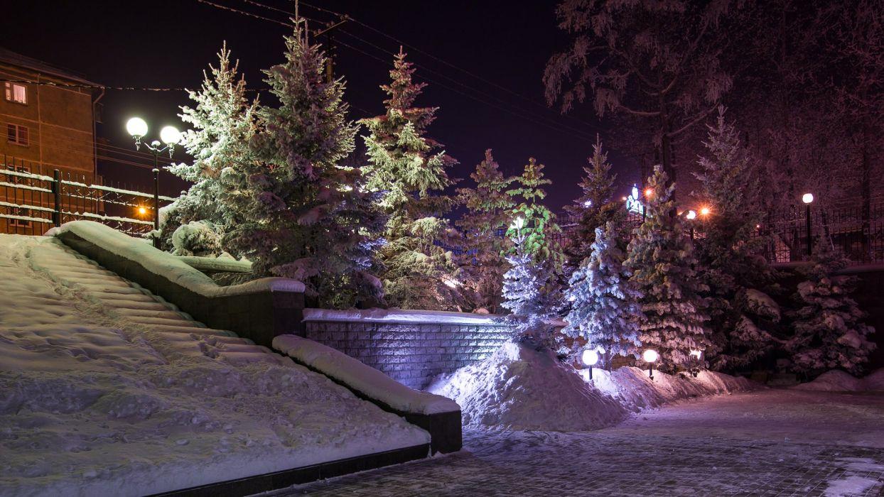 Russia Winter Snow Fir Night Street lights Nature wallpaper