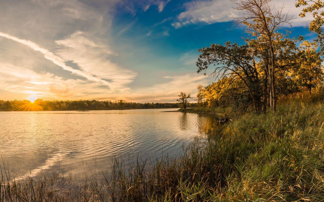 Scenery USA Lake Sunrises and sunsets Sky Trees Grass Lake Metigoshe Nature wallpaper