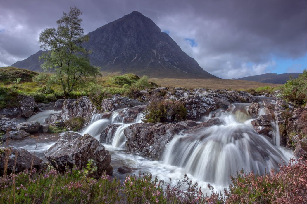 Scotland Waterfalls Mountains Stones Scenery Nature wallpaper