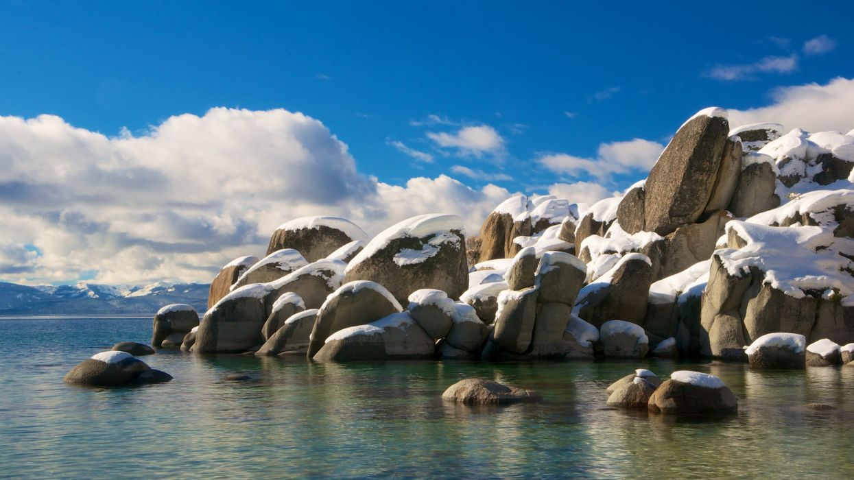 Stones Sky USA Lake Snow Clouds California Nature wallpaper