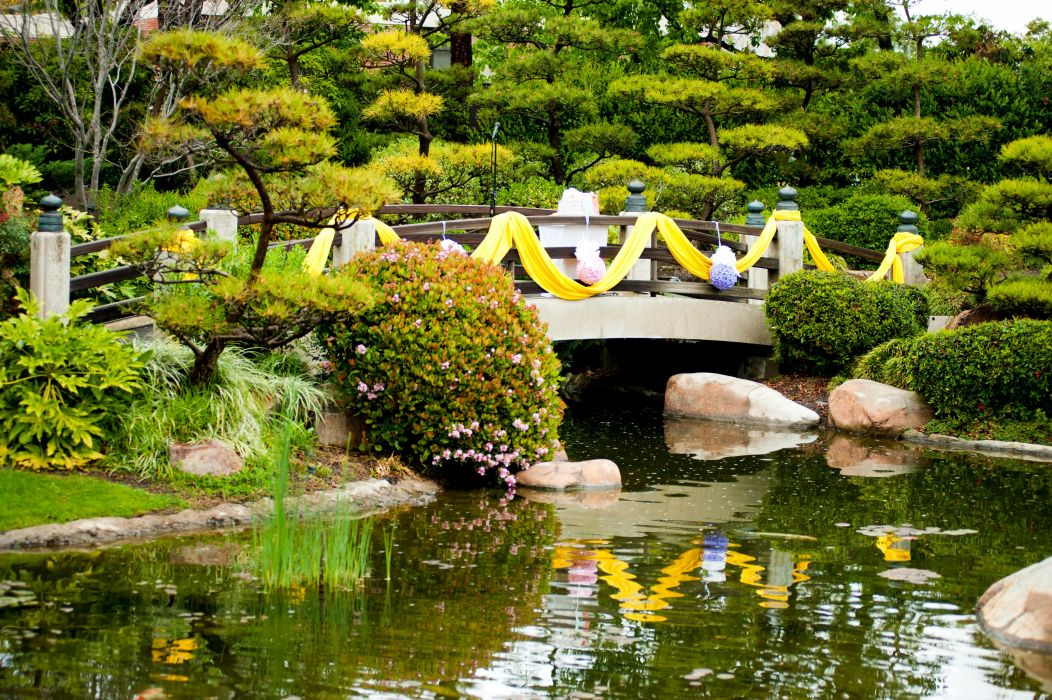 USA Gardens Pond Bridges California Shrubs Earl Burns Miller Japanese Garden Nature wallpaper