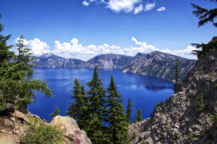 USA Parks Scenery Mountains Lake Sky Fir Crater Lake National Park Nature wallpaper