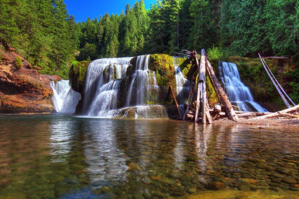 USA Rivers Waterfalls Forests Washington Lewis River Nature wallpaper