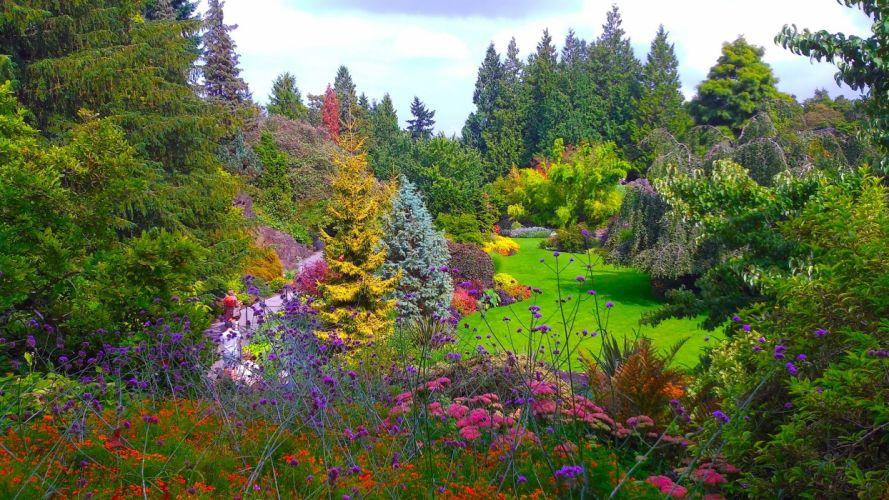 Canada Gardens Vancouver Trees Shrubs Queen Elizabeth Garden Nature wallpaper
