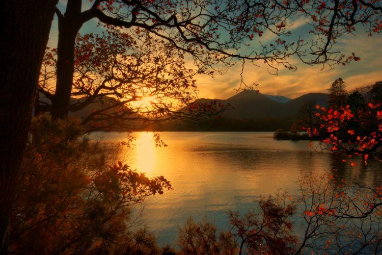 England Sunrises and sunsets Lake Scenery Branches Keswick Nature wallpaper