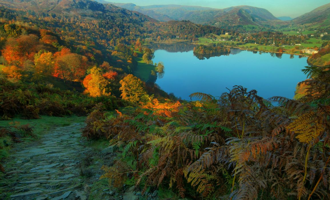 England Lake Mountains Forests Autumn Cumbria Nature wallpaper
