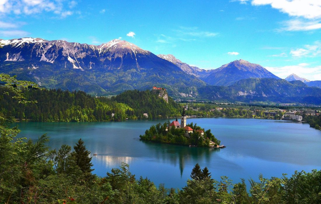 Mountains Lake Scenery Slovenia Bled Nature wallpaper