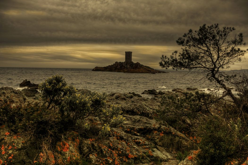 France Scenery Island Coast Le Dramont Nature wallpaper