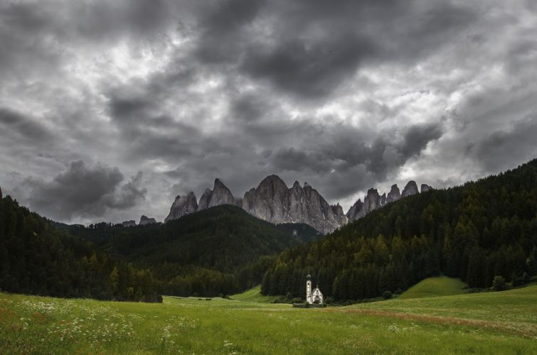Mountains Grasslands Forests Clouds Dolomites St Johann Nature wallpaper
