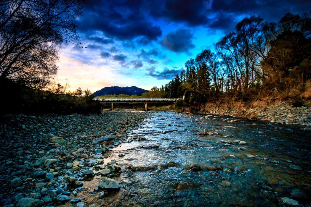 New Zealand Rivers Bridges Stones Evening Clouds Nature wallpaper