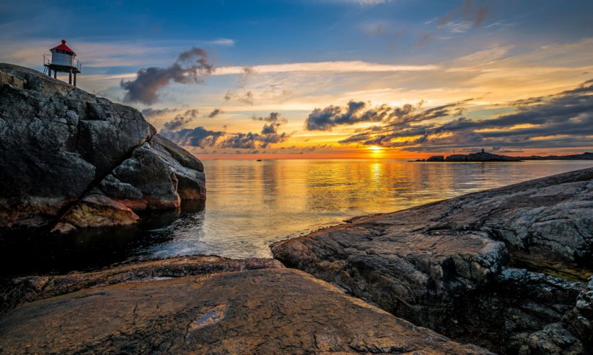 Norway Sunrises and sunsets Coast Scenery Lighthouse Clouds Egersund Nature wallpaper