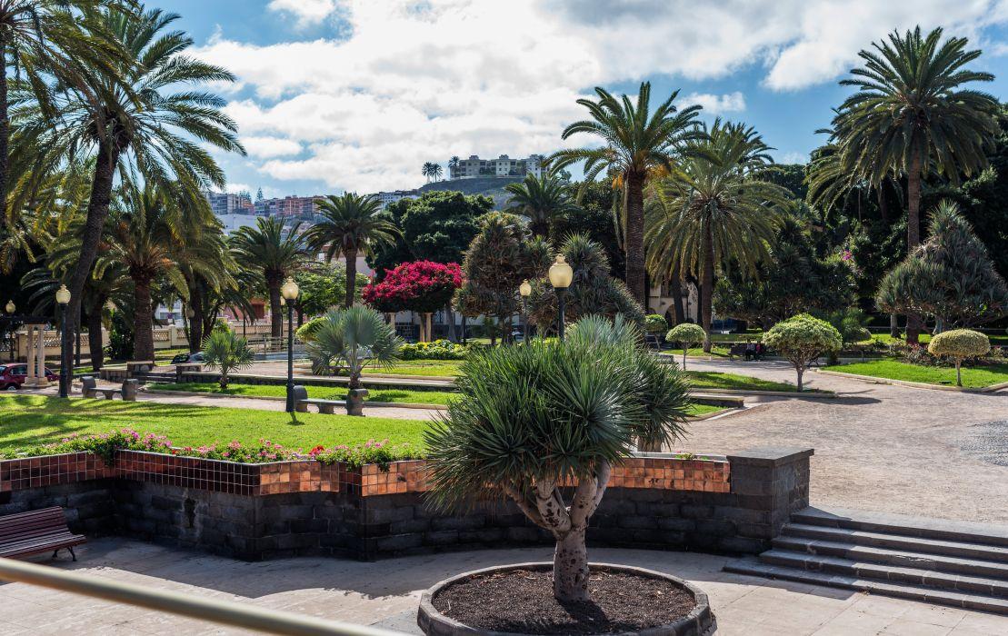 Spain Parks Canary Islands Trees Palma Street lights Lawn Las Palmas Nature wallpaper
