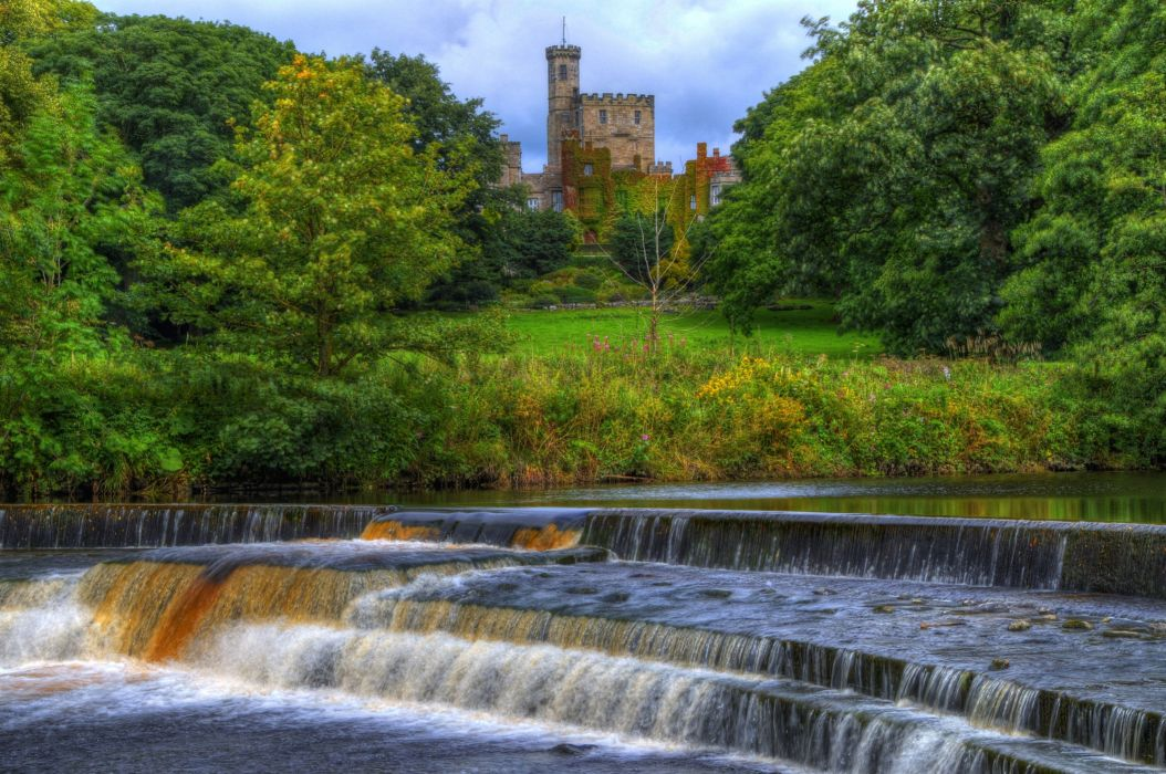 Waterfalls Rivers England Castles HDR Hornby castle Nature wallpaper