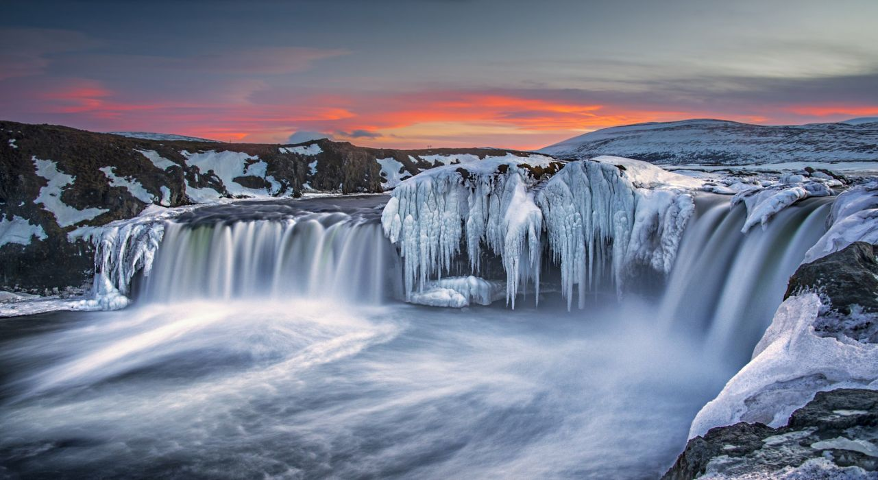 Rivers Iceland Waterfalls Ice Nature wallpaper