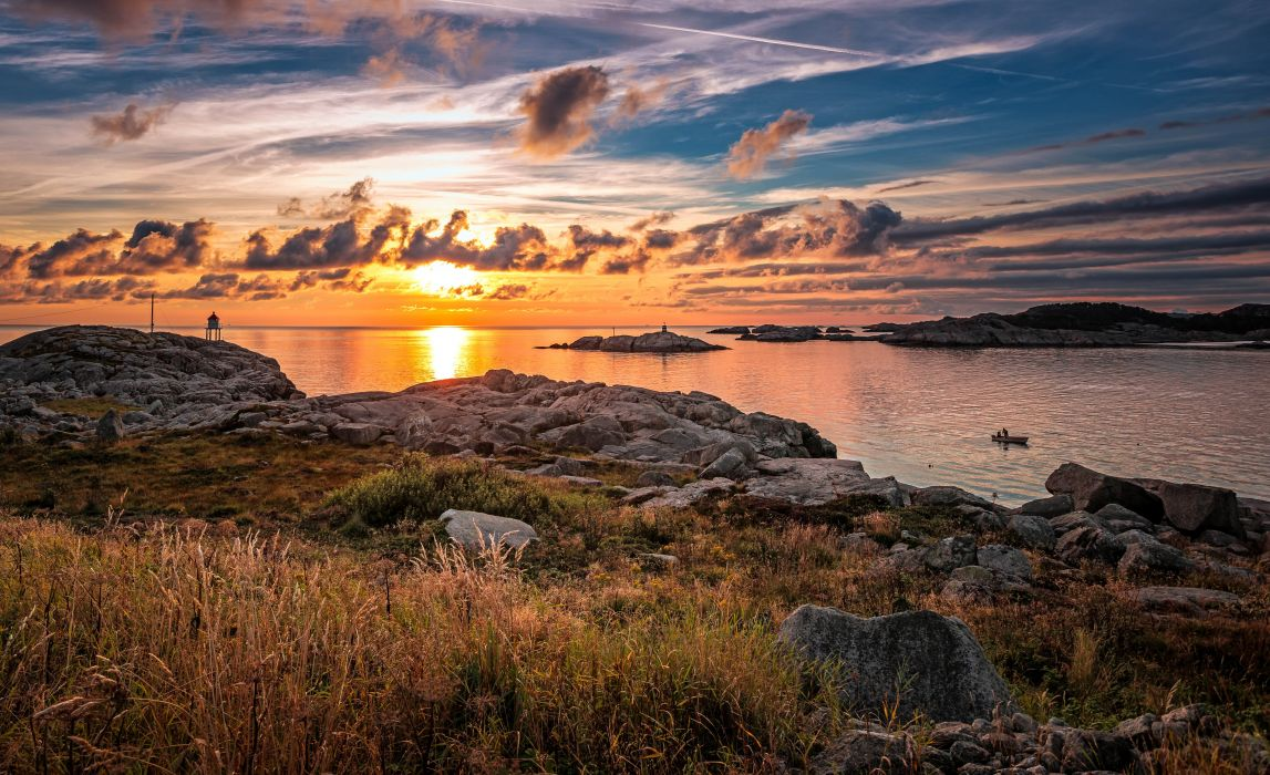 Norway Scenery Sunrises and sunsets Coast Stones Clouds Rogaland Nature wallpaper