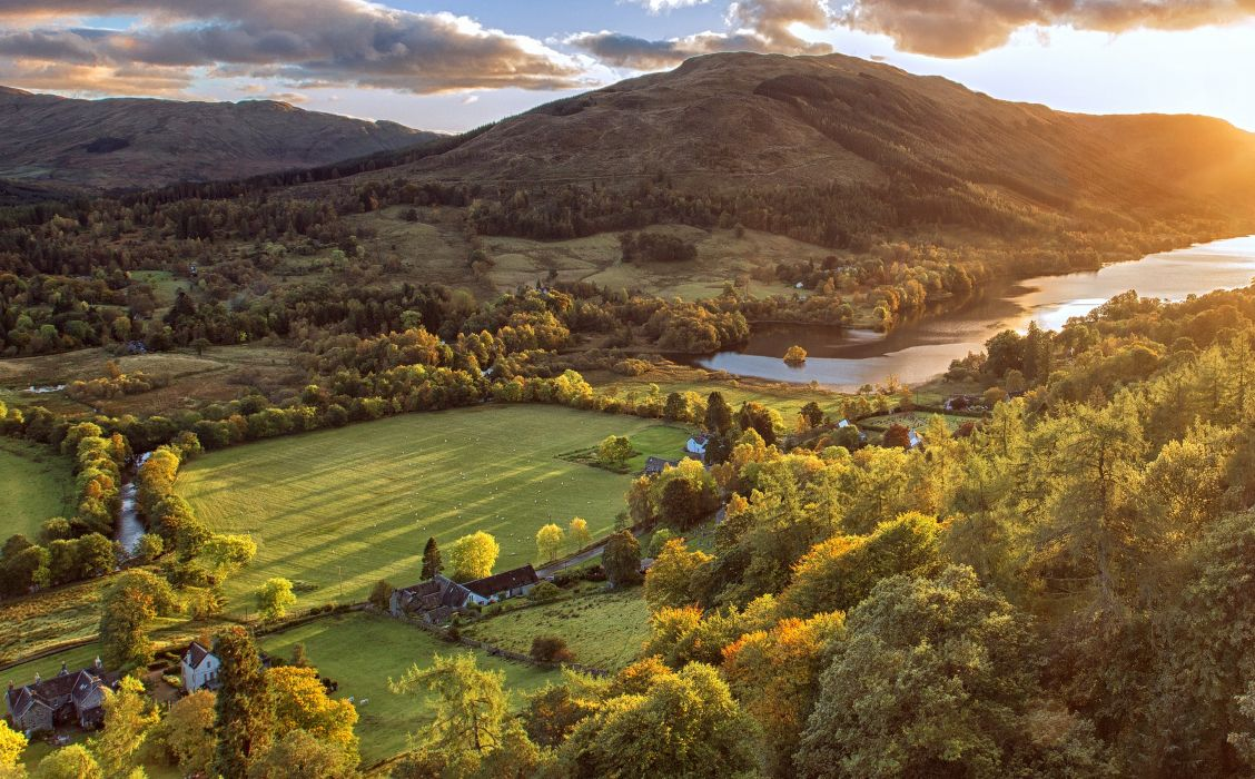 Scotland Scenery Fields Trees Clouds Tuirc Nature autumn wallpaper
