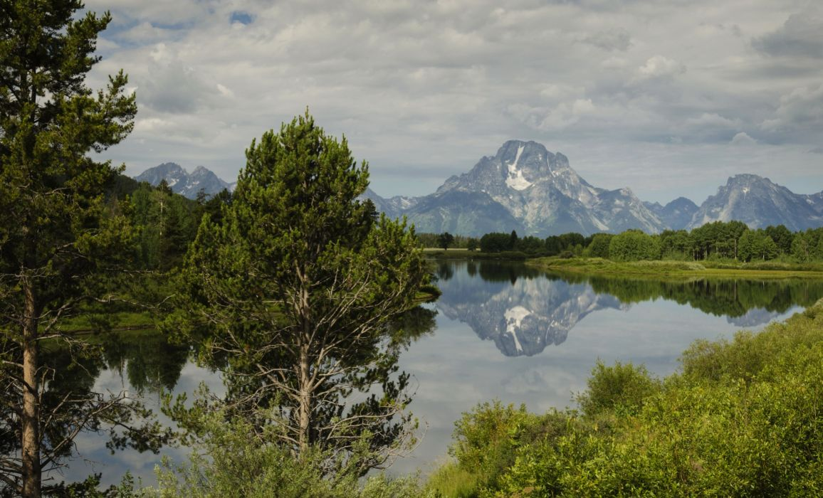 USA Scenery Mountains Lake Sky Trees Moran Wyoming Nature wallpaper