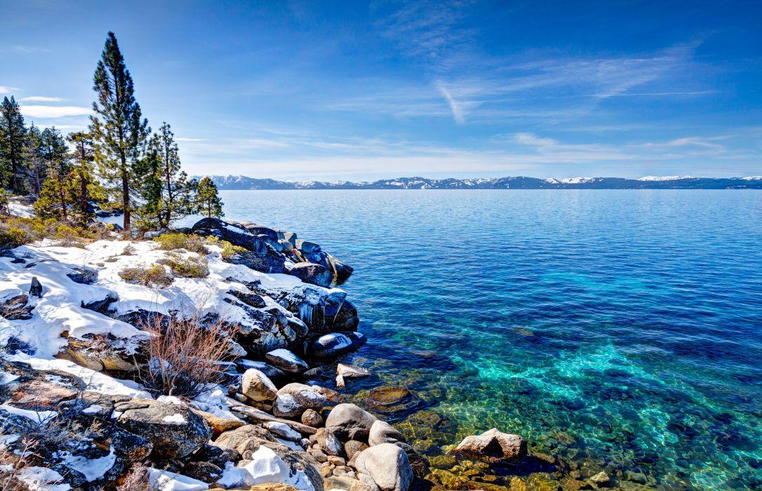 USA Lake Coast Winter Scenery Sky Trees Nevada Lake Tahoe Nature wallpaper