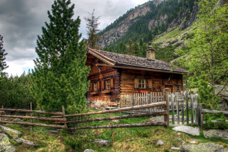 ustria Houses Mountains Alps Fir Fence Nature wallpaper