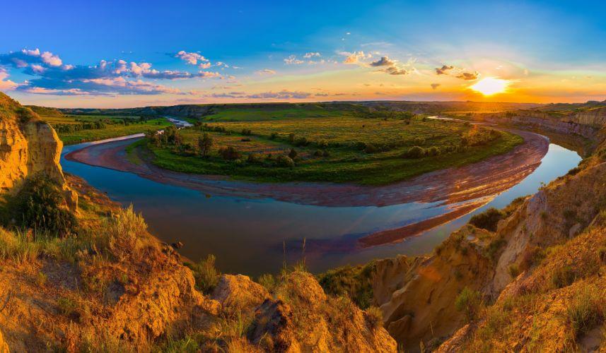 USA Parks Scenery Rivers Grasslands Sunrises and sunsets Clouds Theodore Roosevelt National Park Medora Nature wallpaper