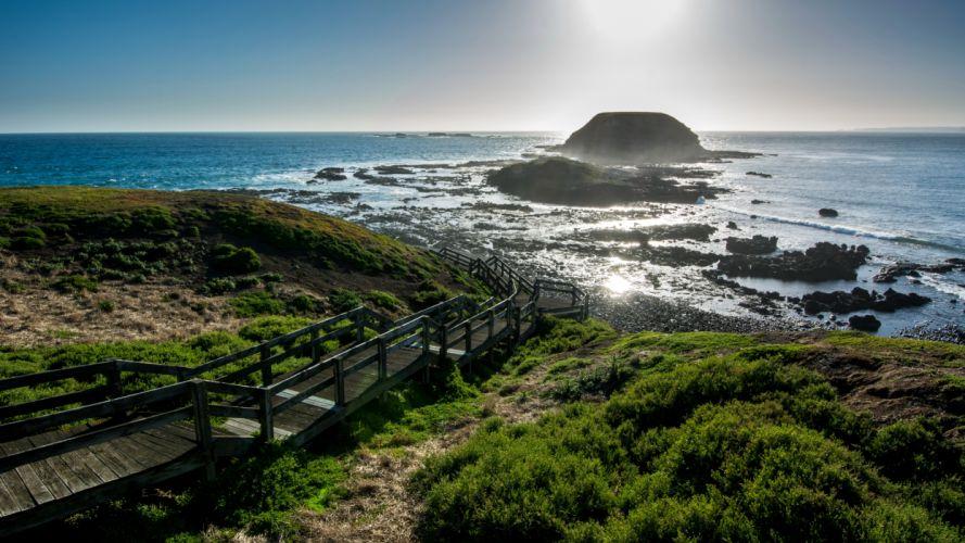 Australia Scenery Coast Ocean Stairs Nature wallpaper