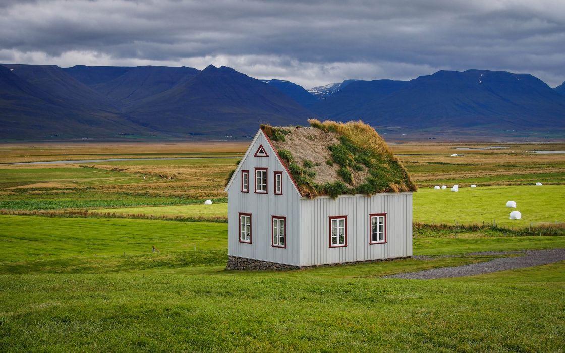 Houses Grasslands Iceland Grass sod-house Nature wallpaper