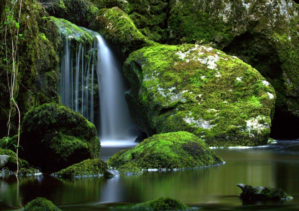 Ireland Rivers Waterfalls Stones Moss Cladagh River Nature wallpaper