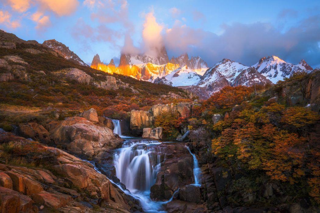 Scenery Mountains Autumn Waterfalls South America Patagonia Nature wallpaper
