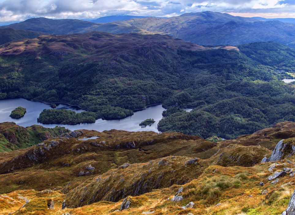 Scotland Scenery Mountains Lake Forests Loch Drunkie Nature wallpaper