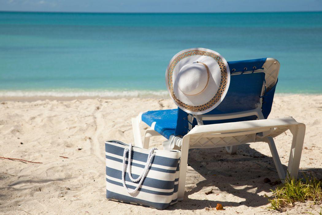 Sea Summer Handbag Hat Sunlounger Beach Nature wallpaper