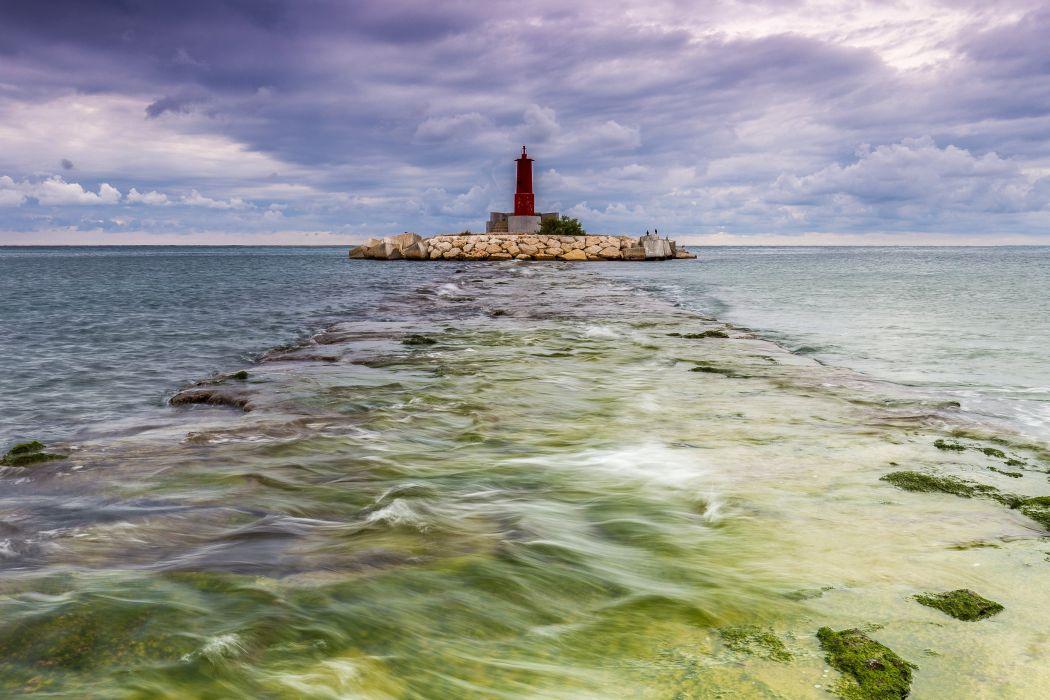 Spain Scenery Sea Lighthouse Sky Clouds La Vila Joiosa Valencia Nature wallpaper