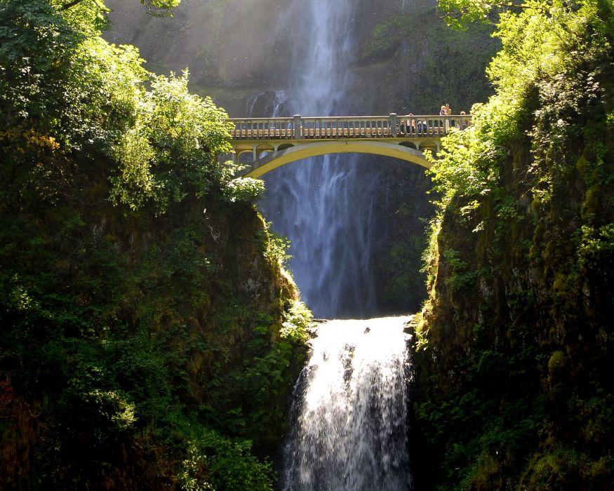 USA Waterfalls Bridges Crag Shrubs Multnomah waterfalls Nature wallpaper
