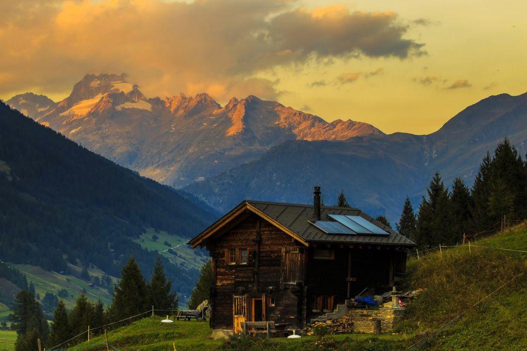 Switzerland Mountains Houses Alps Fir Nature wallpaper