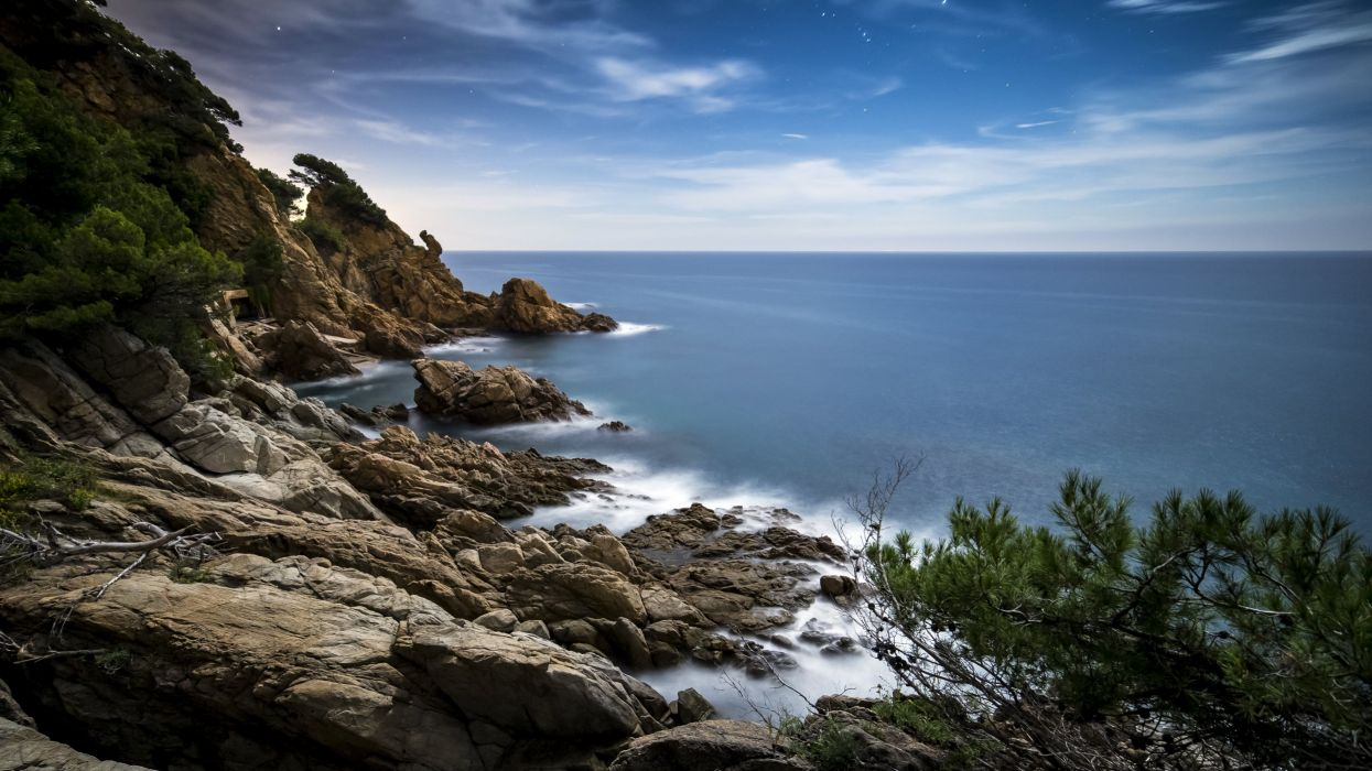 Spain Coast Scenery Stones Sea Crag Blanes Catalonia Nature wallpaper