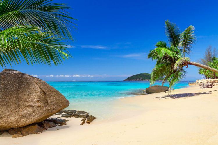 Thailand Tropics Coast Stones Scenery Sky Palma Sand Phuket Nature wallpaper