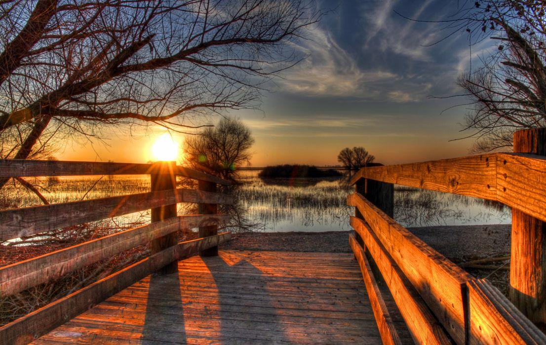 USA Sunrises and sunsets Lake California HDR Fence Merced National Wildlife Refuge Nature wallpaper