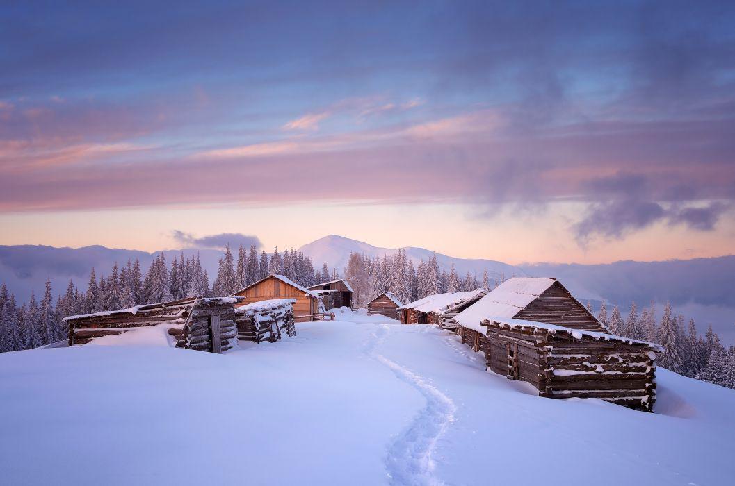 Winter Houses Sky Snow Nature wallpaper