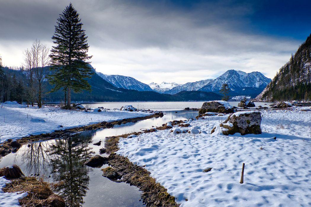 Austria Winter Mountains Lake Scenery Snow Fir Altaussee Styria Nature wallpaper