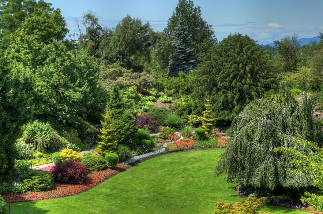 Canada Gardens Vancouver Lawn Shrubs Trees Queen Elizabeth Garden Nature wallpaper