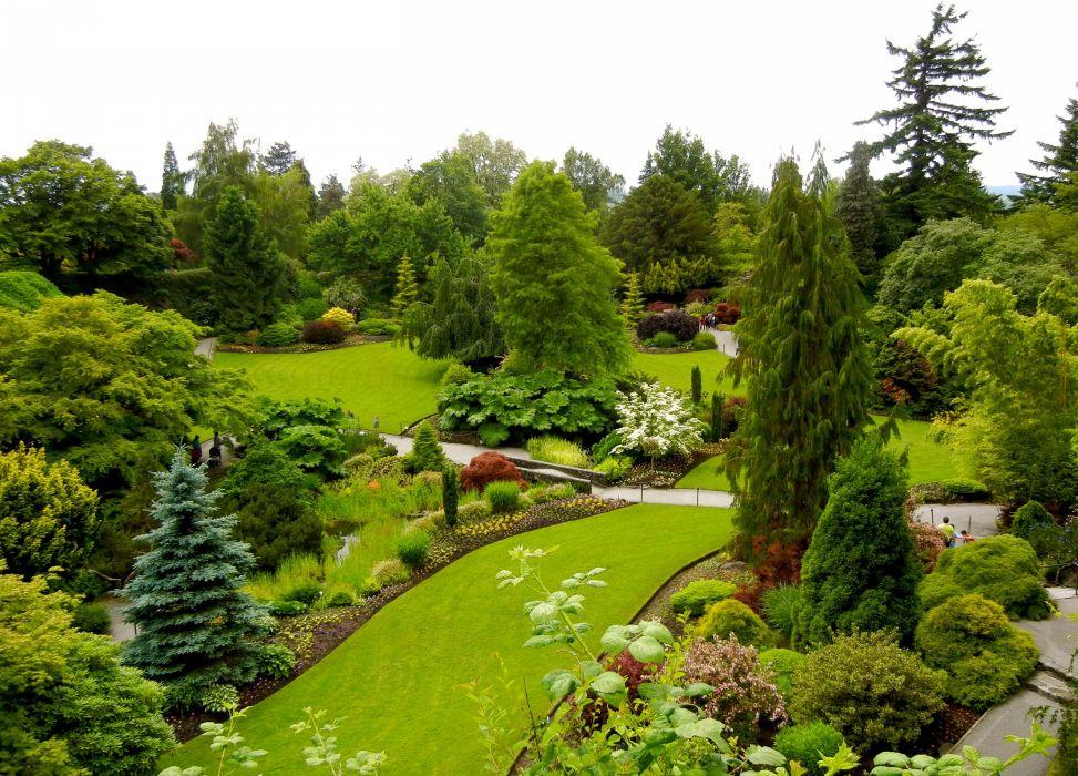 Canada Gardens Vancouver Trees Lawn Shrubs Fir Queen Elizabeth Garden Nature wallpaper