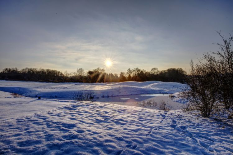 Winter Sunrises and sunsets Snow Nature wallpaper