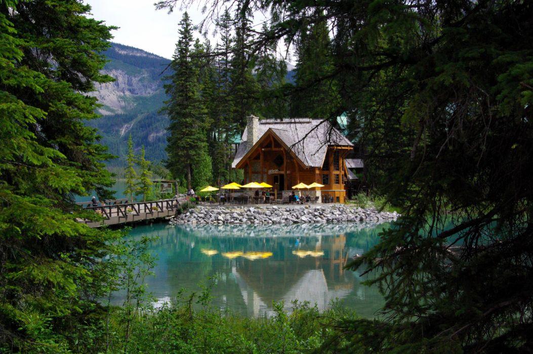 Canada Lake Parks Houses Bridges Fir Emerald lake Yoho National Park Nature wallpaper