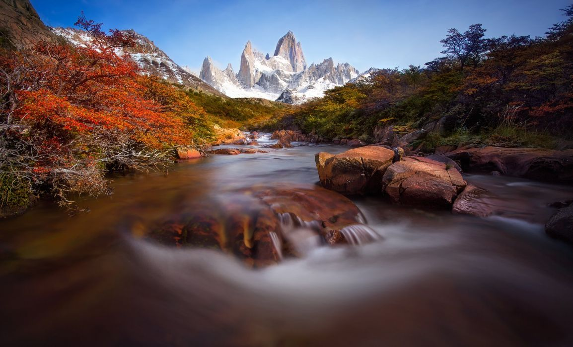 Mountains Scenery Rivers Stones South America Patagonia Nature wallpaper