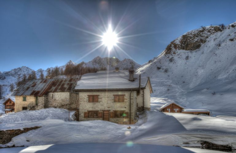 Italy Winter Mountains Houses Alps Snow Rays of light Nature wallpaper