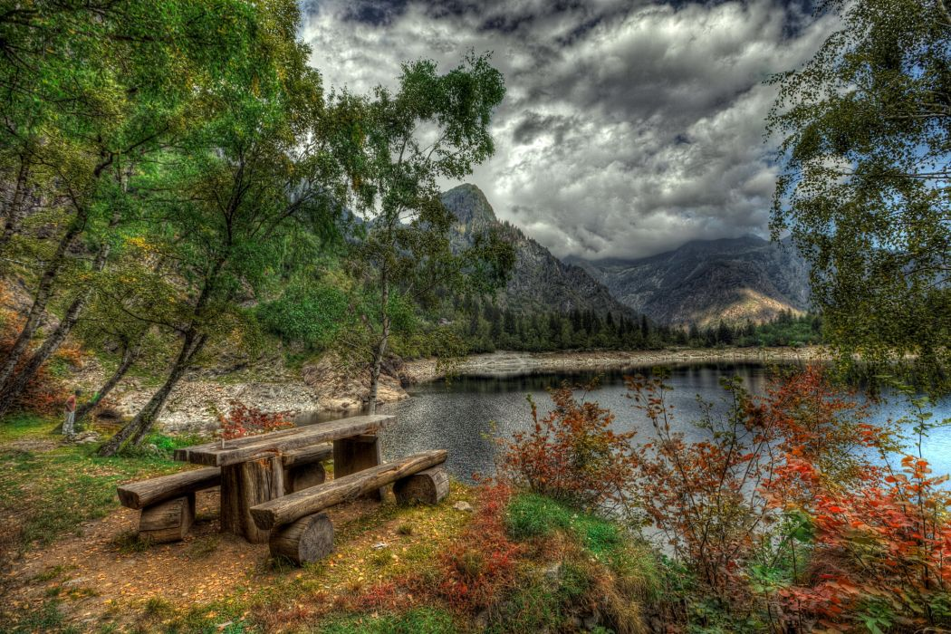 Italy Lake Mountains HDR Trees Table Bench Clouds Antrona Schieranco Piedmont Nature wallpaper