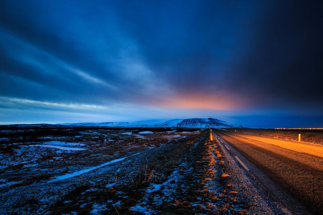 Iceland Scenery Roads Sky Nature wallpaper