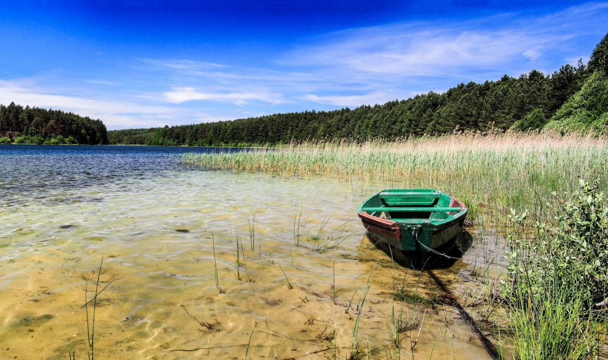 Poland Lake Boat Forests Kotel Lake Nature wallpaper