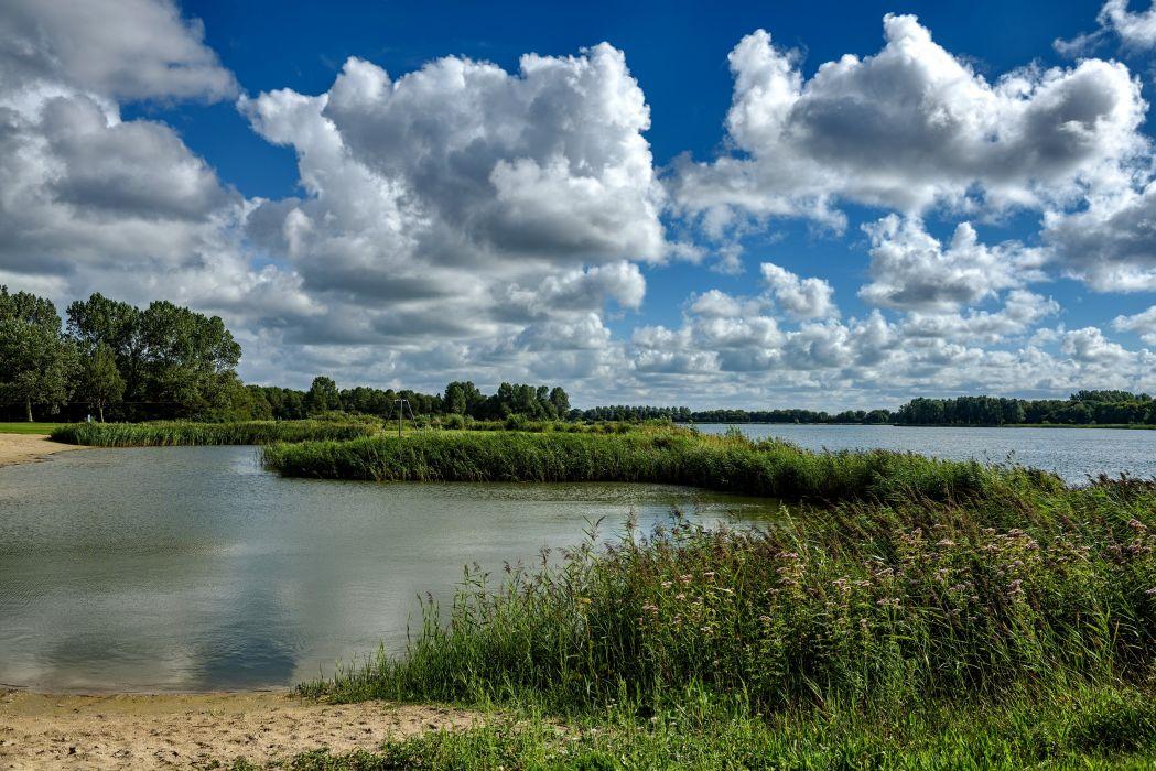 Netherlands Scenery Rivers Sky Clouds Grass Alkmaar Nature wallpaper
