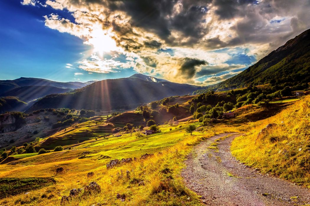 Scenery Mountains Grasslands Clouds Rays of light Trail Nature wallpaper