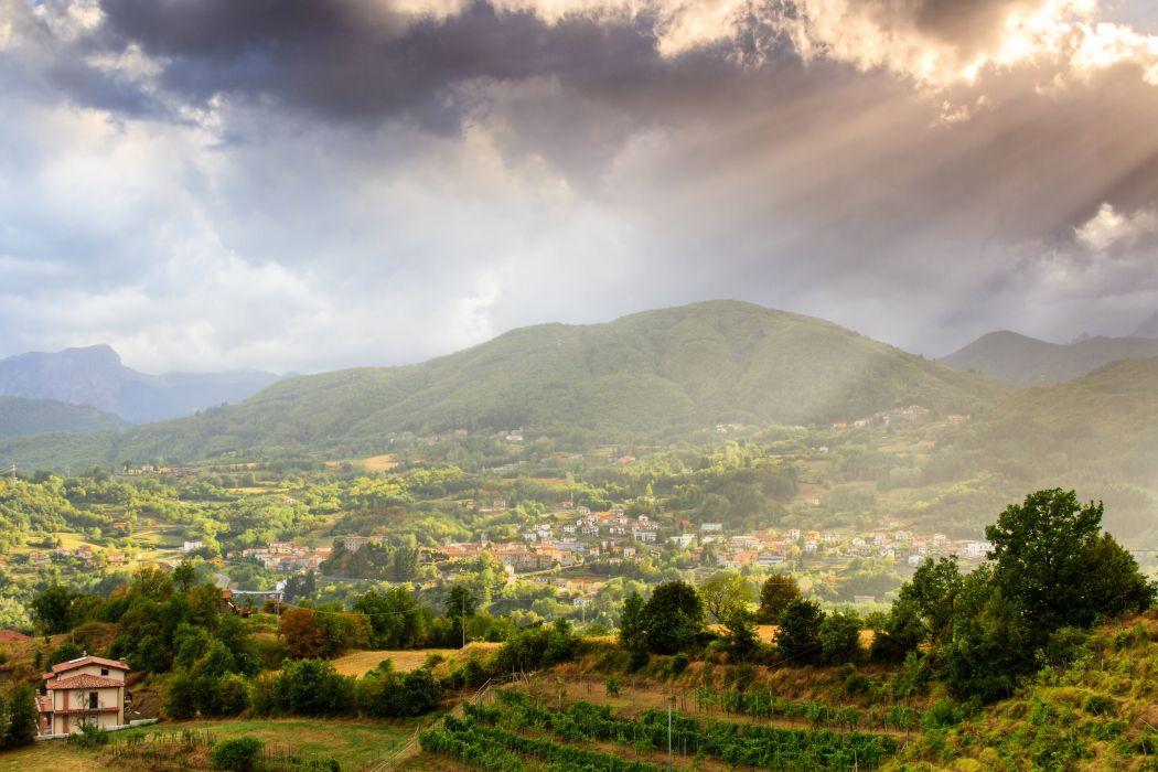 Italy Scenery Mountains Houses Clouds Garfagnana Tuscany Nature wallpaper